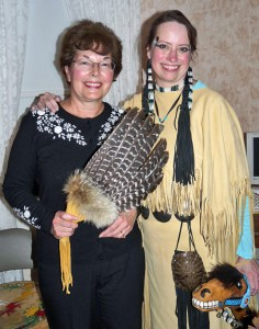 Terry Weaver in Lakota regalia with Mary Gresco